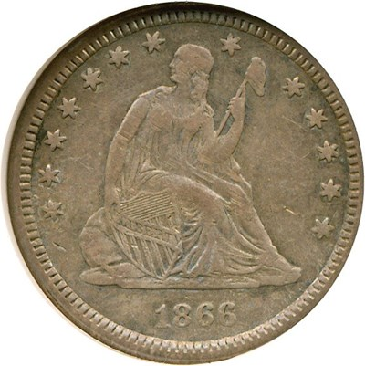 Image of 1866-S 25c  NGC VF30