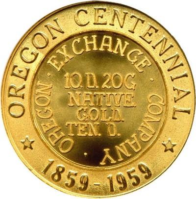 Image of 1959 OR SC$1 Oregon Beaver Dollar Medal (HK-573) NGC MS66