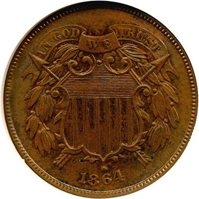Image of 1864 2c Large Motto NGC MS65 BN