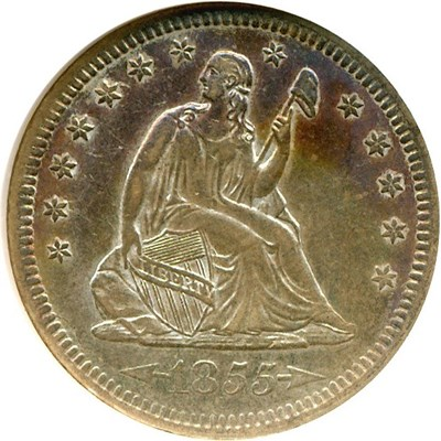 Image of 1855 25c Arrows NGC AU58 * Color *