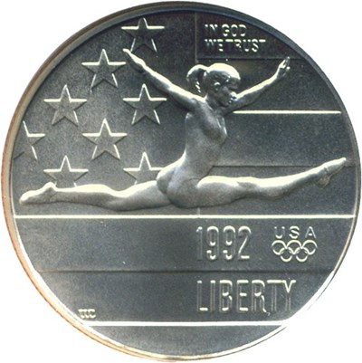 Image of 1992-P 50c Olympic Gymnast NGC MS70