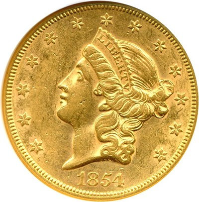 Image of 1854 $20 Small Date NGC AU58