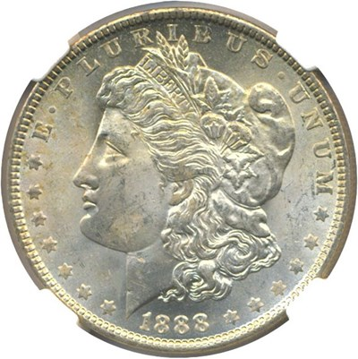 Image of Top 100 VAM: 1888-O $1 VAM 9  Doubled Arrows NGC MS64