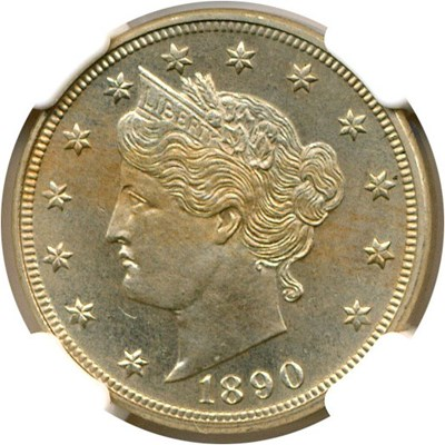 Image of 1890 5c  NGC Proof 64