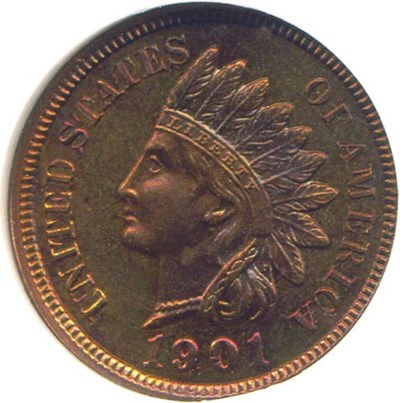 Image of 1901 1c  NGC/CAC Proof 65 RB