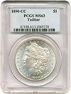 Image of 1890-CC $1 Tail Bar - VAM 4 PCGS MS63