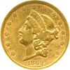 Image of 1862-S $20  NGC AU50