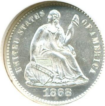 Image of 1868 H10c  NGC MS64 PL