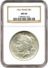 Image of 1921 $1 Peace NGC MS64