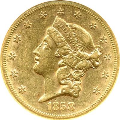 Image of 1858-S $20  NGC AU55