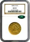 Image of 1848-O $10  NGC/CAC AU53