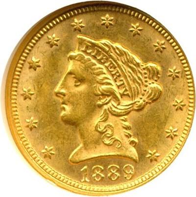 Image of 1889 $2 1/2  NGC MS61