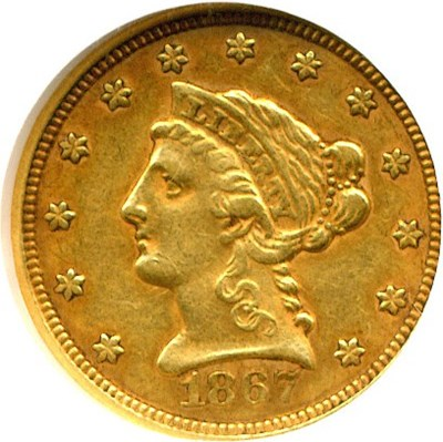 Image of 1867-S $2 1/2  NGC/CAC AU55