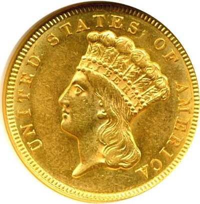 Image of 1856 $3  NGC AU58