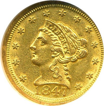 Image of 1847-D $2 1/2  NGC MS61