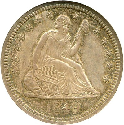 Image of 1849 25c  NGC/CAC MS63