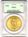 Image of 1928 $20  PCGS MS63 OGH