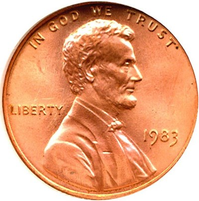 Image of 1983 1c Doubled Die Reverse NGC MS68 RD