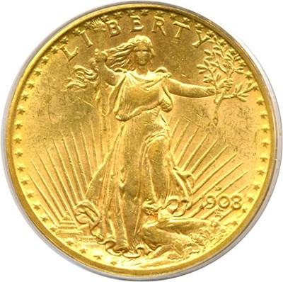 Image of 1908-D $20 No Motto PCGS MS62