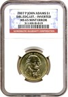 Image of Mint Error: 2007-P $1 John Adams NGC MS65 - Dbld Edge Lettering - INV