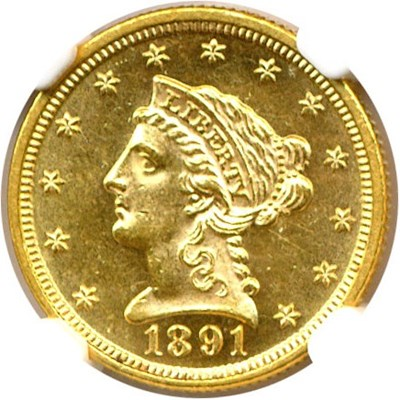 Image of 1891 $2 1/2  NGC MS63