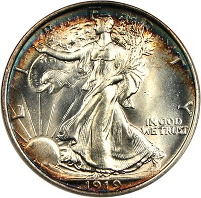 Image of 1919 50c  NGC/CAC MS64 * Color *