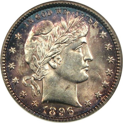 Image of 1896-O 25c  NGC/CAC MS63 * Color *