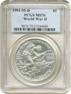 Image of 1991-95-D $1 W.W. II PCGS MS70