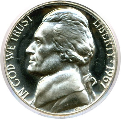 Image of 1967 5c SMS PCGS MS67 Cameo
