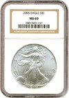 Image of 2005 $1 Silver Eagle NGC MS69