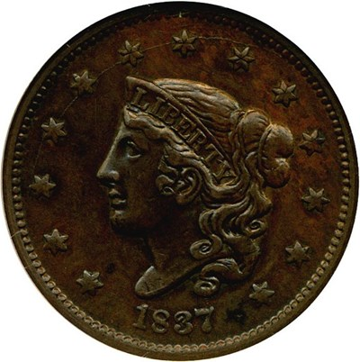 Image of 1837 1c Head of 1836 NGC AU55 (Medium Letters, N-4) ex: Jules Reiver Collection