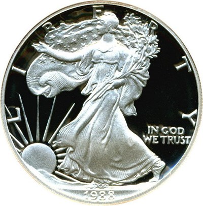 Image of 1988-S $1 NGC Proof 69 UCameo (Silver Eagle)