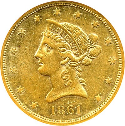 Image of 1861 $10 NGC/CAC AU50