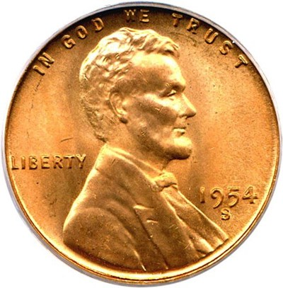 Image of 1954-S 1c PCGS MS67 RD