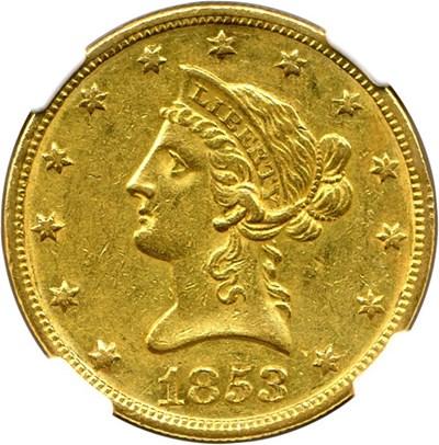 Image of 1853-O $10 NGC AU55