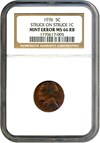 Image of Mint Error: 1976 5c NGC MS66 RB (Struck on Struck Lincoln Cent)