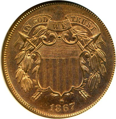 Image of 1867 2c NGC Proof 65 RD