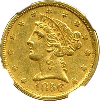 Image of 1856-C $5 NGC AU58