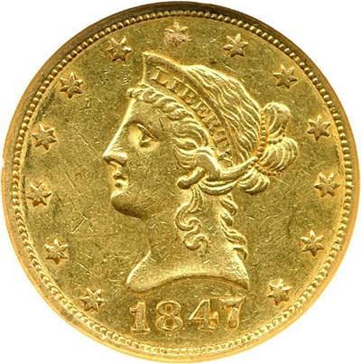 Image of 1847 $10 NGC AU53