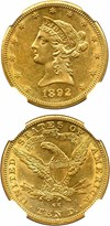 Image of 1892-CC $10 NGC AU58
