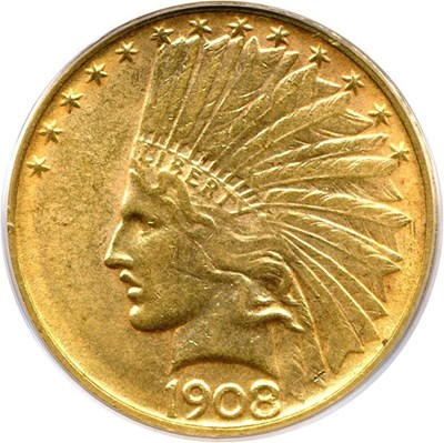 Image of 1908-D No Motto $10 PCGS MS61