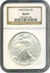 Image of 1998 Silver Eagle $1 NGC MS69