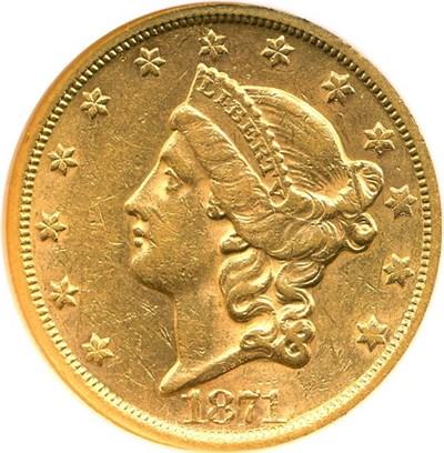 Image of 1871-S $20 NGC AU58