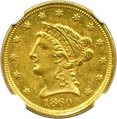 Image of 1860-C $2 1/2 NGC AU58