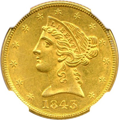 Image of 1843 $5 NGC MS61