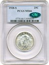 Image of 1928-S 25c PCGS/CAC MS66