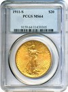Image of 1911-S $20 PCGS MS64