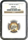 Image of 1939-D 5c NGC MS66 (Reverse of 1938) * Color *