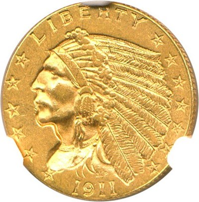 Image of 1911-D $2 1/2 NGC MS62