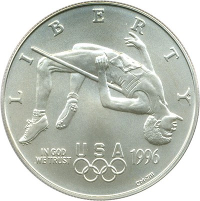 Image of 1996-D $1 PCGS MS70 (Olympic High Jump)